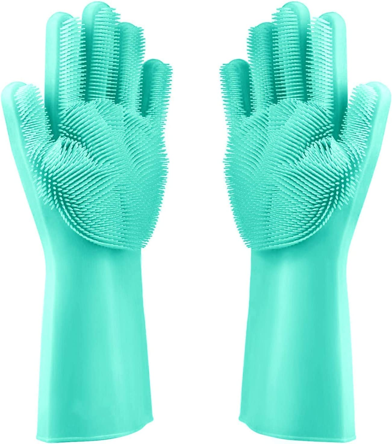 Magic Reusable Dishwashing Cleaning Sponge Gloves Silicone Brush Scrubber Gloves Heat Resistant for Dishwashing Bathroom Kitchen Cleaning Pet Hair Care Car & More Washing (Green)