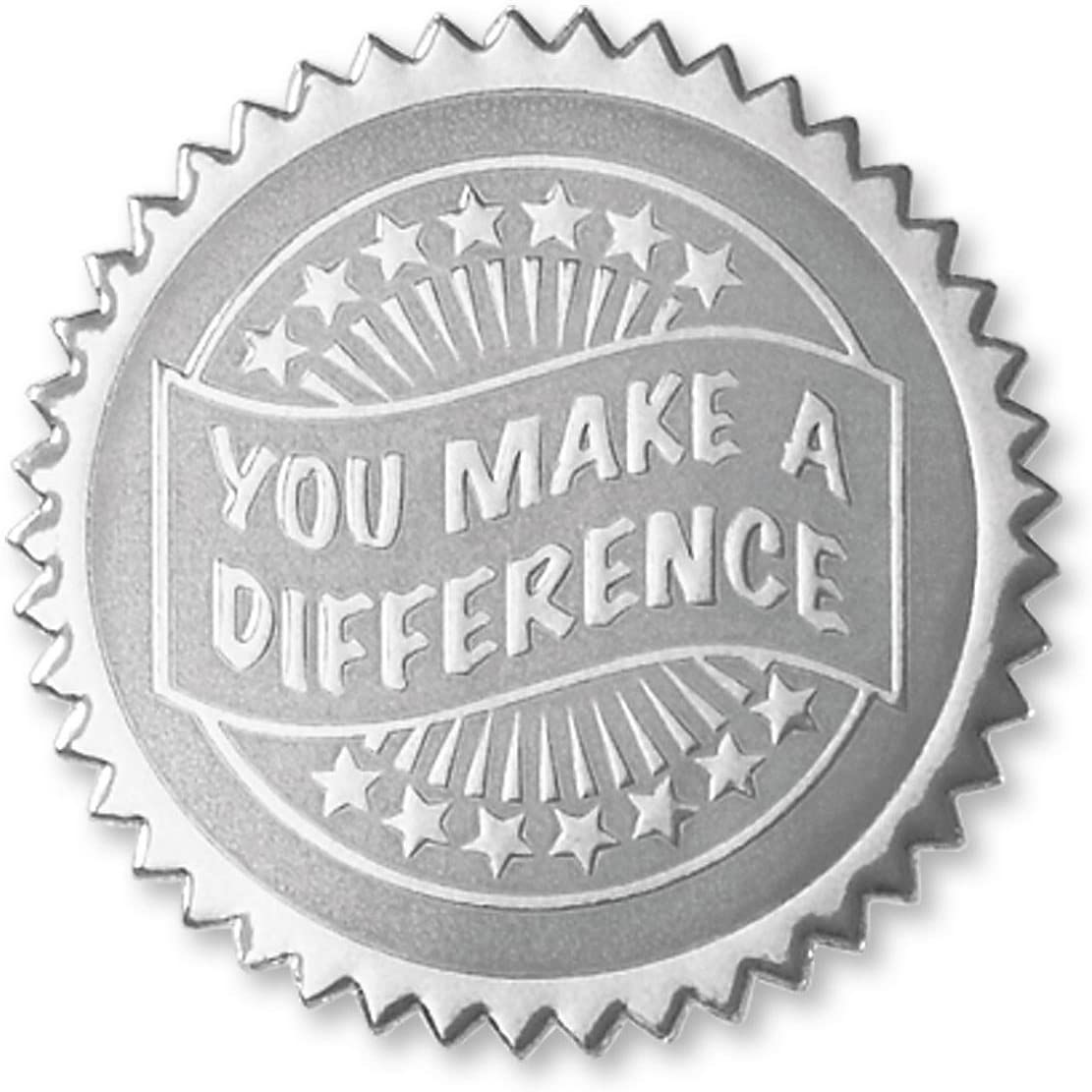 Embossed You Make a Difference Certificate Seals Gold 102 Pack