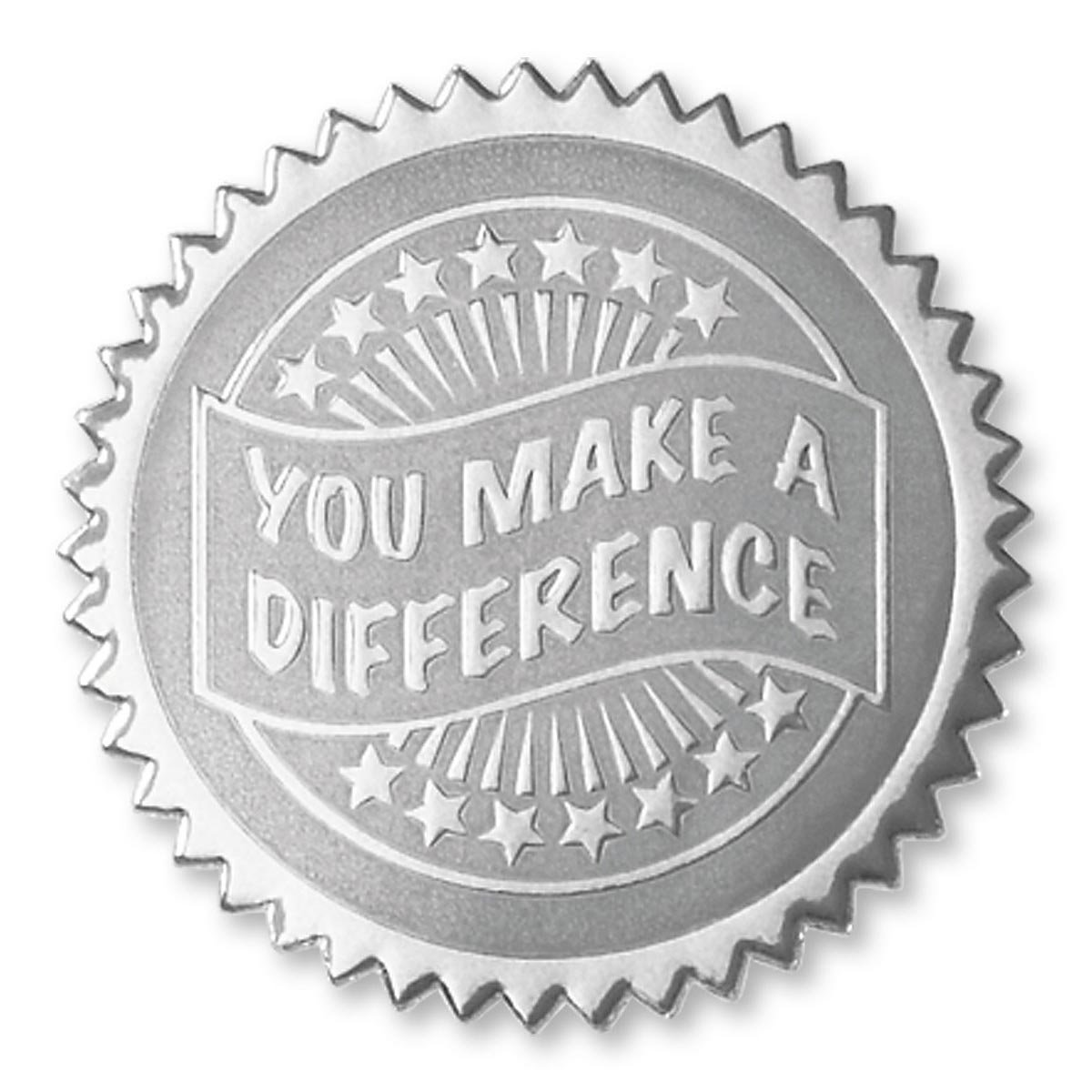 Embossed You Make a Difference Certificate Seals, 102 Pack (Silver) by PaperDirect