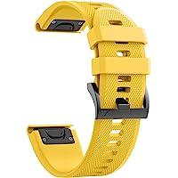 ANCOOL Correa de repuesto de reloj, para Garmin Fenix 5/Fenix 5 Plus/Forerunner 935/Approach S60/Quatix 5, de ajuste sencillo, de silicona suave, de 22 mm de ancho, Amarillo, 22mm for Garmin Fenix 5