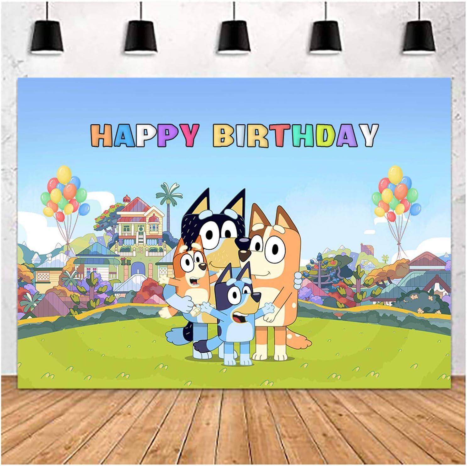 Cartoon Sheepdog Bluey Theme Photography Backdrops Bluey Family ...