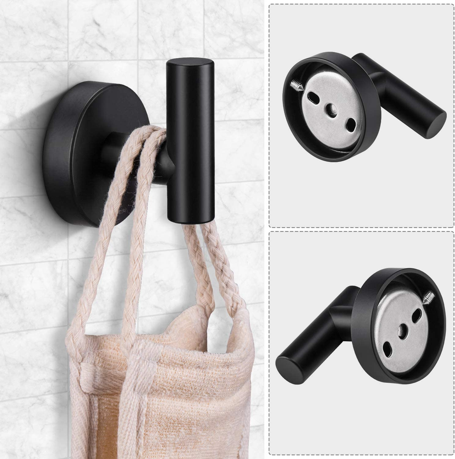 Pynsseu 304 Stainless Steel Bathroom Hardware Accessories Set Matte Black 3-Piece Set Includes Hand Towel Ring, Robe Towel Hook, Toilet Paper Holder Heavy Duty Wall Mount Bathroom Holder: Home & Kitchen