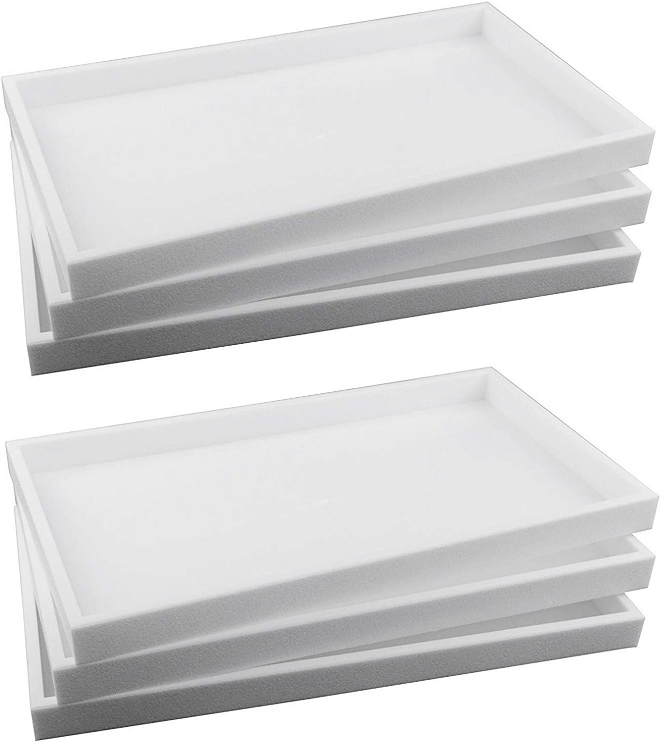 888 Display USA 6-Piece 1-Inch Deep White Full Size Plastic Stackable Jewelry Tray 14 3/4 X 8 1/4 X 1H