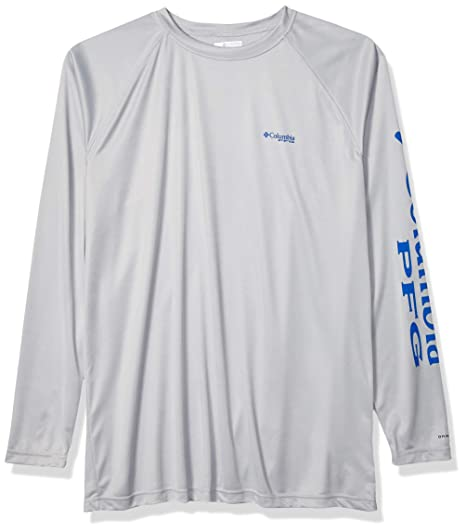 4fa7dc74c8bc Columbia Men's PFG Terminal Tackle Long Sleeve Tee - Tall , Cool Grey,  Vivid Blue