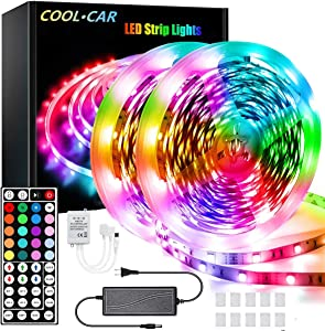 COOL·CAR 60ft Led Strip Lights, Flexible Color Changing 5050 RGB Light Strips Kit with 44 Keys Ir Remote and 12v Power Supply
