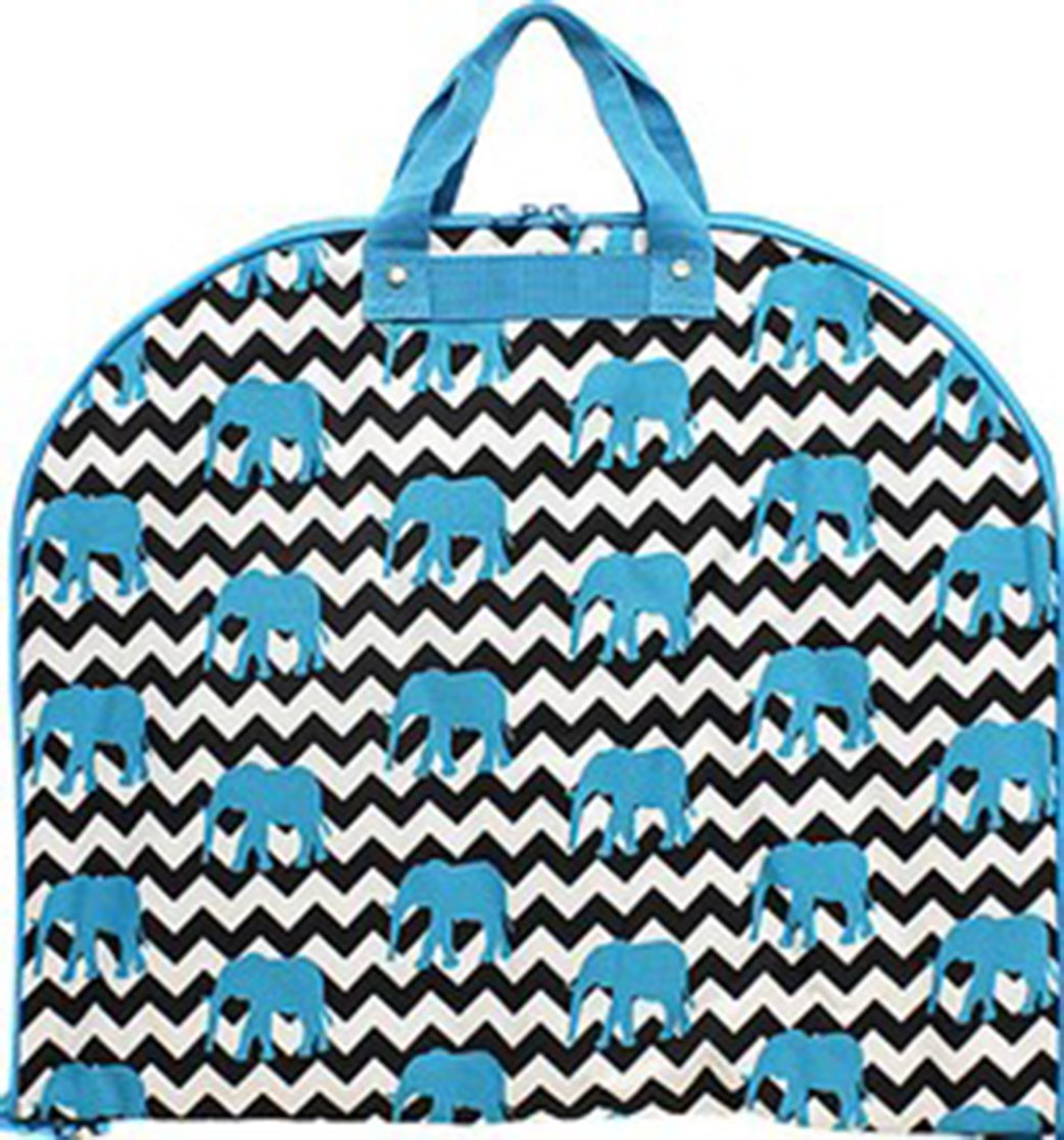 Ever Moda Blue Chevron Elephant Print Garment Bag Travel Luggage