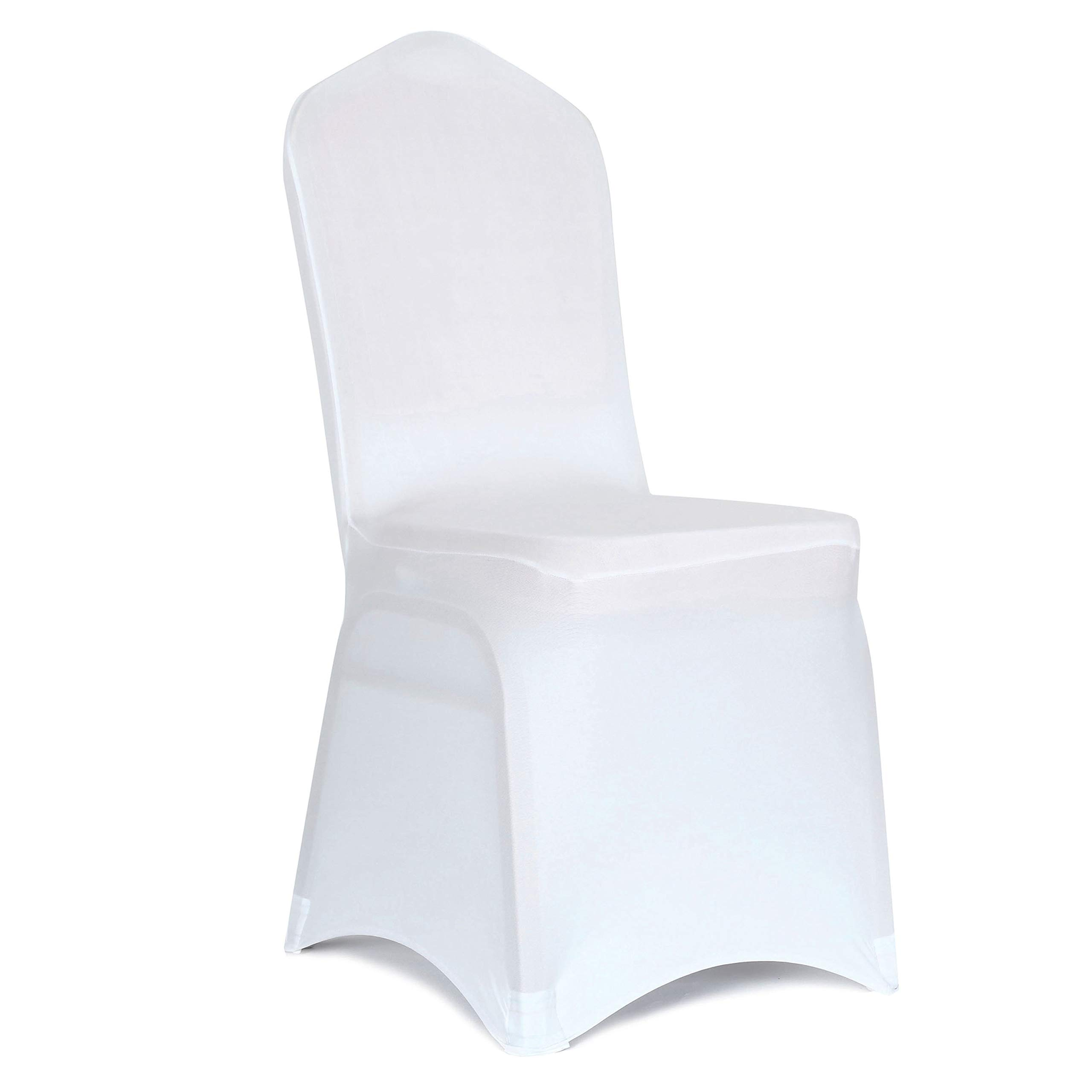 Obstal 10 PCS White Spandex Dining Room Chair Covers for Living Room - Universal Stretch Chair Slipcovers Protector for Wedding, Banquet, and Party