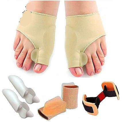 Juego de protectores de dedos y correctores de juanetes, separador de dedos, adapta los