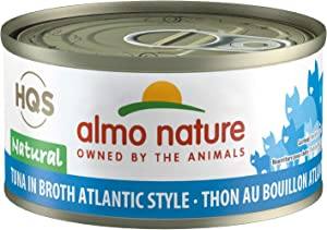 Almo Nature HQS Natural Tuna Atlantic Style, Grain Free, Additive Free,Adult Cat Canned Wet Food, Flaked
