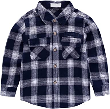 Tortor 1bacha Little Boys Long Sleeve Button Down Plaid Shirt