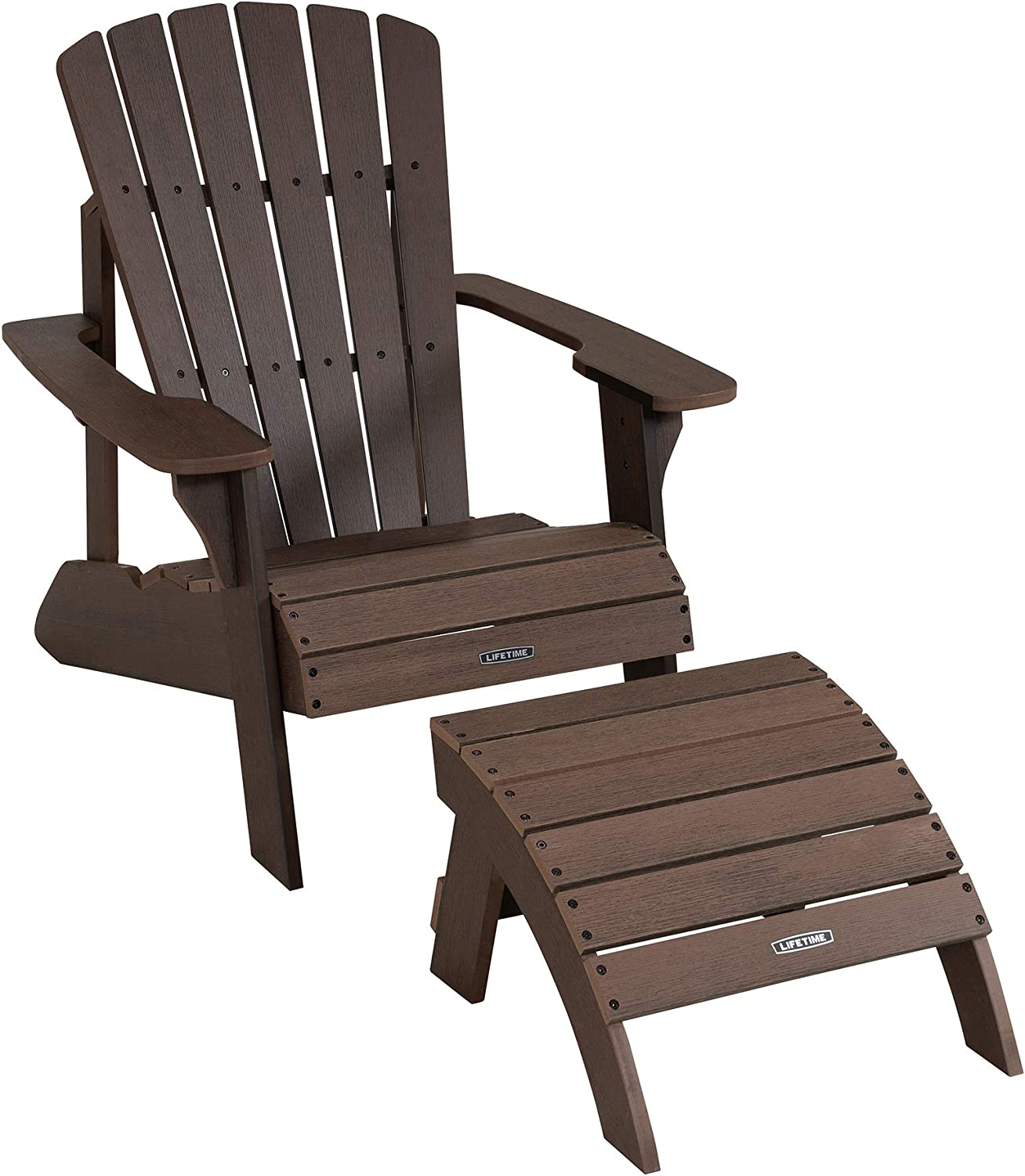 Lifetime 60294 Adirondack Chair And Ottoman Set Rustic Brown Garden Outdoor