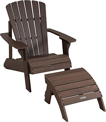 Amazon Com Lifetime 60294 Adirondack Chair And Ottoman Set Rustic Brown Garden Outdoor