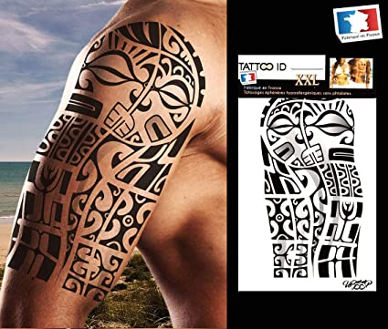 Tatouage Ephemere Temporaire Homme Bras Marquisien Tribal Polynesien