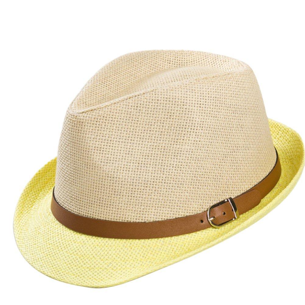 Leisial Mujer Sombrero Arco de Paja Playa Sombrero al Aire Libre Protector Solar Vacaciones Sombrero para Sol Verano Color Caqui