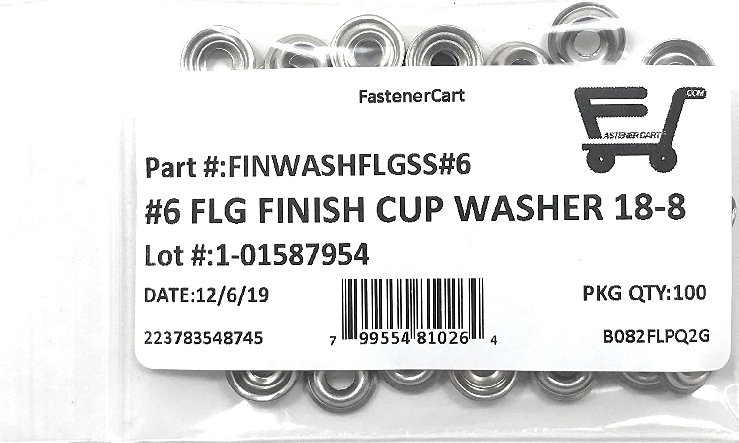 #6 Stainless Steel Flanged Finishing Washers Cup Washers Countersunk 100 Pieces