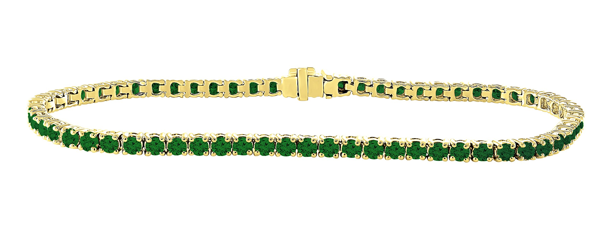 14K Yellow Gold 3.00 Carat (ctw) Natural Real Round Cut Green Emerald Tennis Bracelet For Women 7 Inches