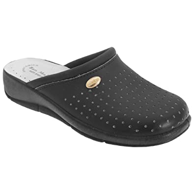 Womens Ladies Mule Clogs /  White Leather Coated Padded San Malo 3 to 8