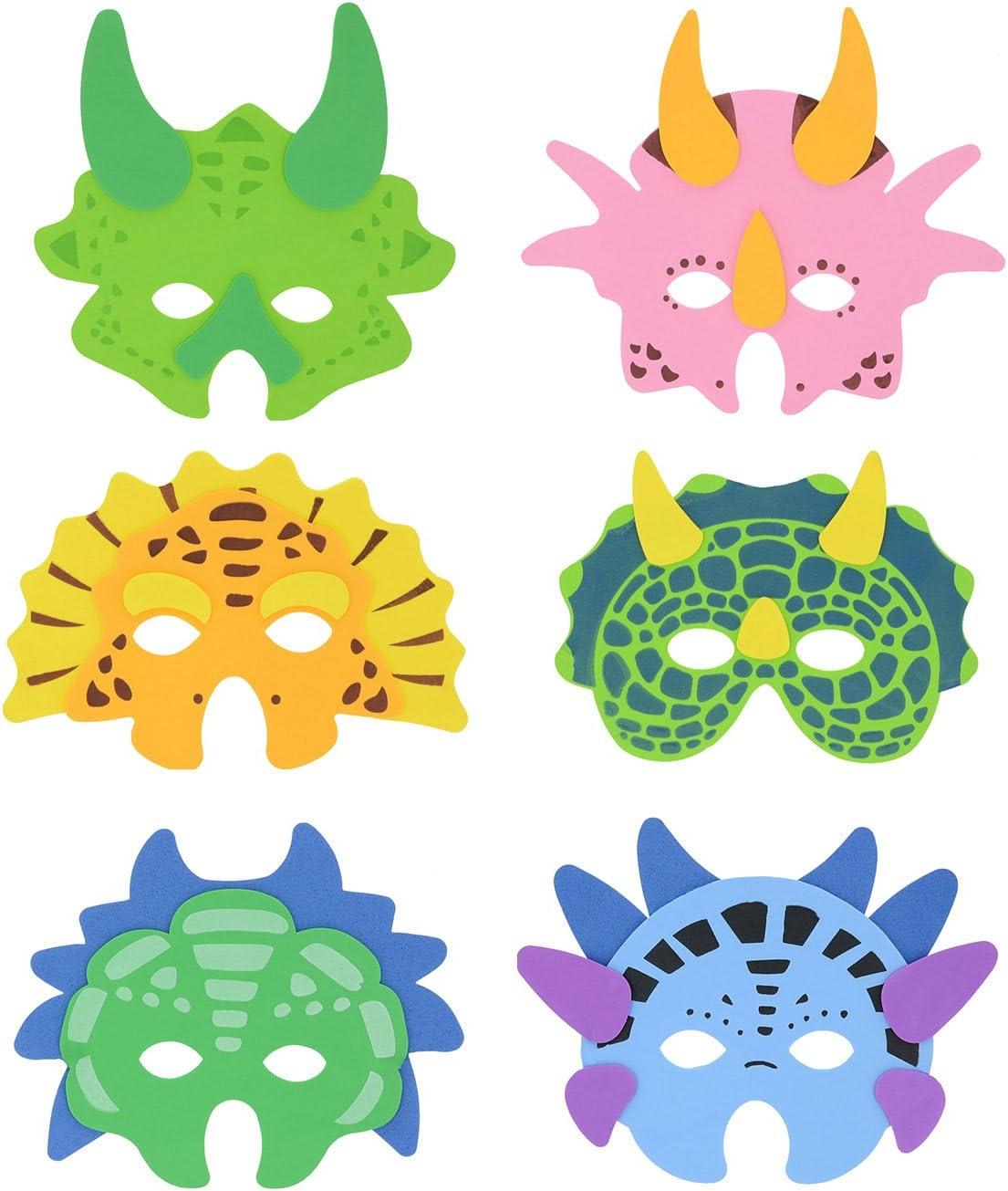 Henbrandt 12x Máscaras de espuma de dinosaurio - Máscaras de fiesta para niños / Máscaras de disfraces / Favores de fiesta / Regalos