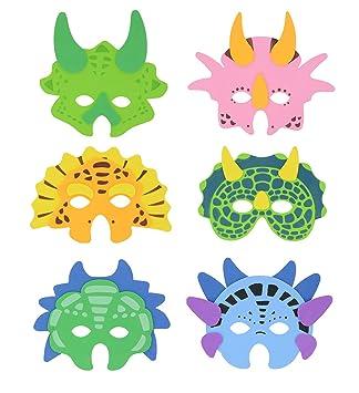Storm&Lighthouse 6X Máscaras de Espuma de Dinosaurio - Máscaras de Fiesta para niños / Máscaras de