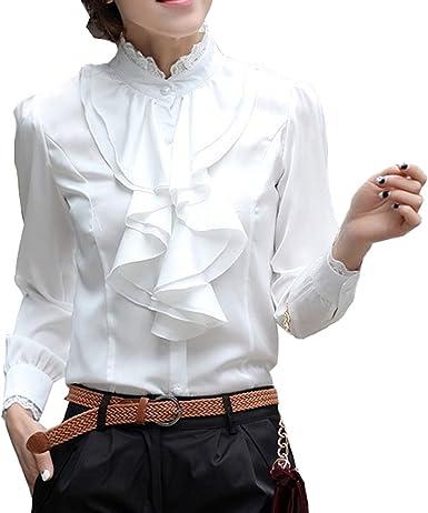 BININBOX - Camisas - cuello mao - para mujer blanco Large: Amazon.es: Ropa y accesorios