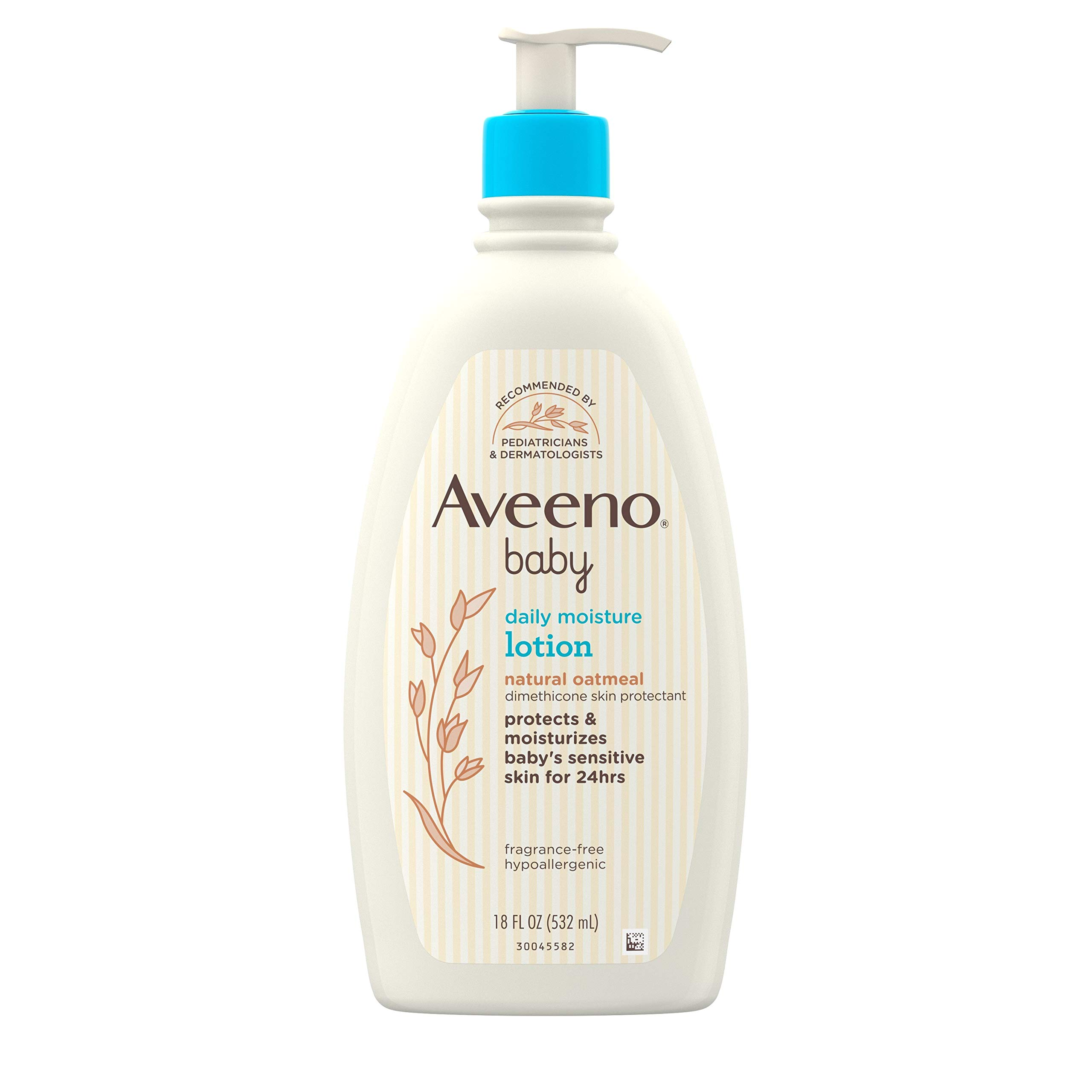 Aveeno Baby Daily Moisture Moisturizing Lotion for Delicate Skin with Natural Colloidal Oatmeal & Dimethicone, Hypoallergenic, Fragrance-, Phthalate- & Paraben-Free, 18 fl. oz