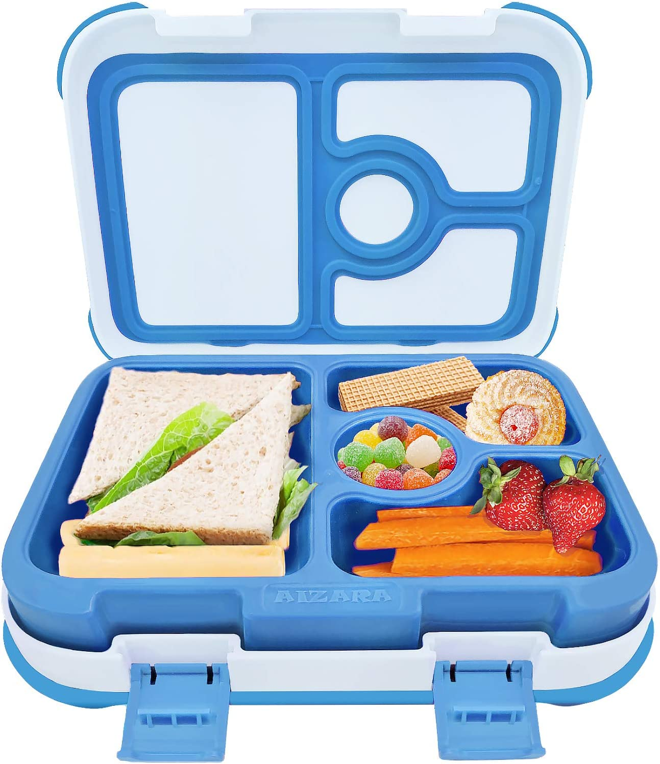 Aitsite Bento Box for Kids On-The-Go Children Lunch Box with 4 2 Compartments Durable and Leak-proof Meal Prep Container BPA-Free Ideal for Nursery and School