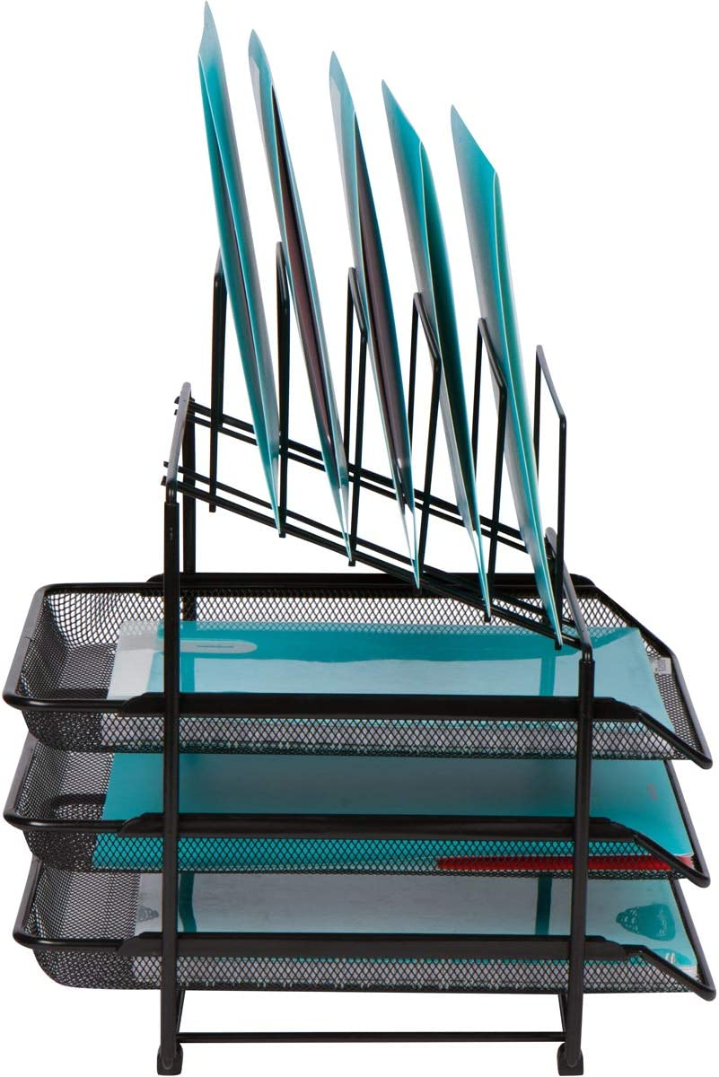 Clipboards Folders File Rack for Binders Office Organizer with 3 Sliding Letter Trays and 5 Vertical File Holders Steel Mesh Letter Trays for Desk Organization Mesh Desk Organizer and Storage