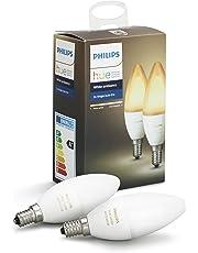 Philips Hue White Ambiance E14 LED Kerze Doppelpack, dimmbar, alle Weißschattierungen, steuerbar via App, kompatibel mit Amazon Alexa, 2-er Pack