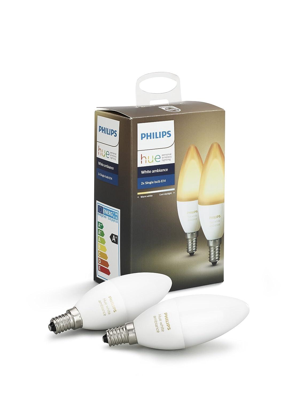 Philips Hue Weiß Ambiance E14 LED Kerze Doppelpack, dimmbar, alle Weißschattierungen, steuerbar via App, kompatibel mit Amazon Alexa