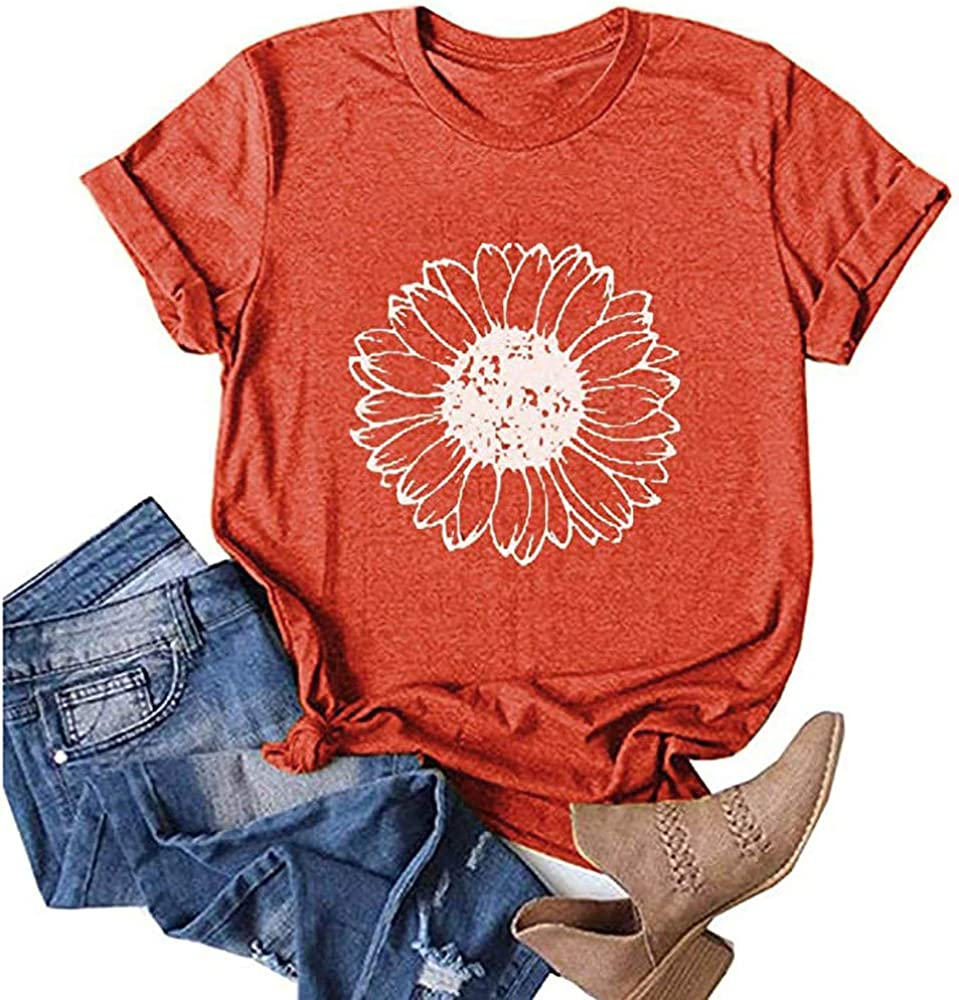 Earlymemb Womens Wildflower Shirts Fall Casual Short Sleeve Dandelion Printed Graphic Tees Tops
