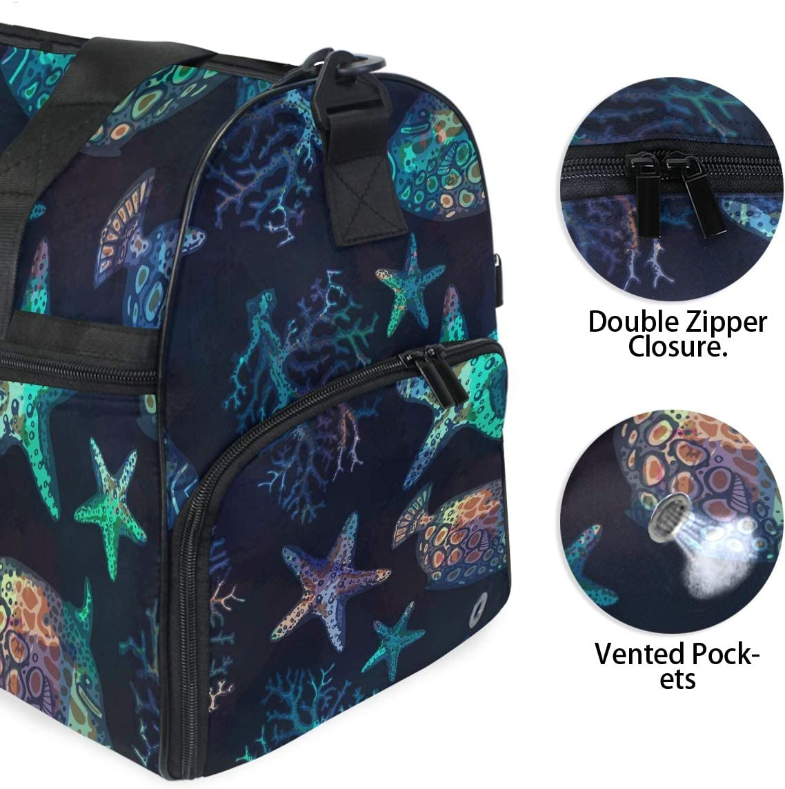 FAJRO Gym Bag Travel Duffel Express Weekender Bag Exotic Fishes Corals And Starfishes Photos Carry On Luggage with Shoe Pouch
