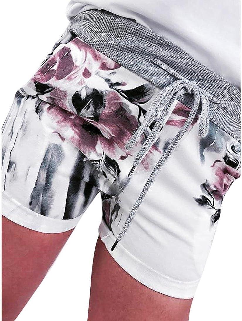 Womens Casual Floral High Waist Bandage Pants Drawstring Yoga Running Shorts