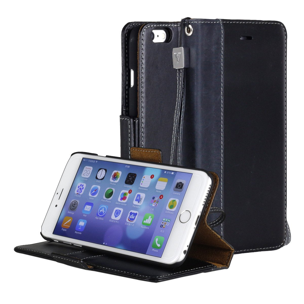 iPhone 6S Plus case, ACEABOVE iPhone 6S Plus Wallet Case [Book Cover Case] [Black] - Genuine Leather Wallet Cover with STAND Flip Cover and [Card Slots] and [Hand Strap] for Apple iPhone 6S Plus / iPhone 6 Plus