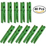 Tinksky Wooden Clothes Pins Clothespins Clothes Pegs Pins-40pcs(Green)