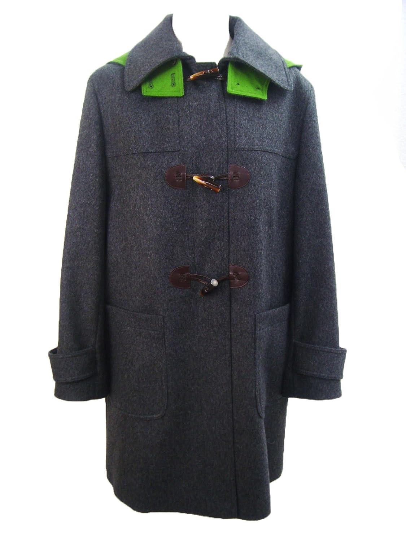Hochwertiger Bauer Dufflecoat Duffle Mantel Wintermantel mit Kapuze Wollmantel grau grün
