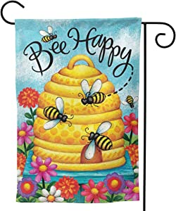 YISHOW Bee Happy Garden Flag Double Sided Vertical House Flags Bee Happy Yard Signs Outdoor Decor 12.5 X 18 Inch