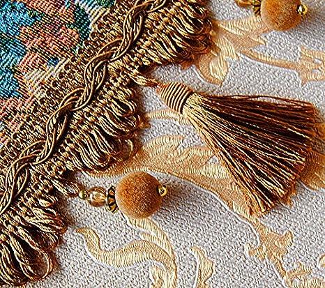 Posamenten QUASTENBORTE,Fransen,Quasten,beige gold 9 cm