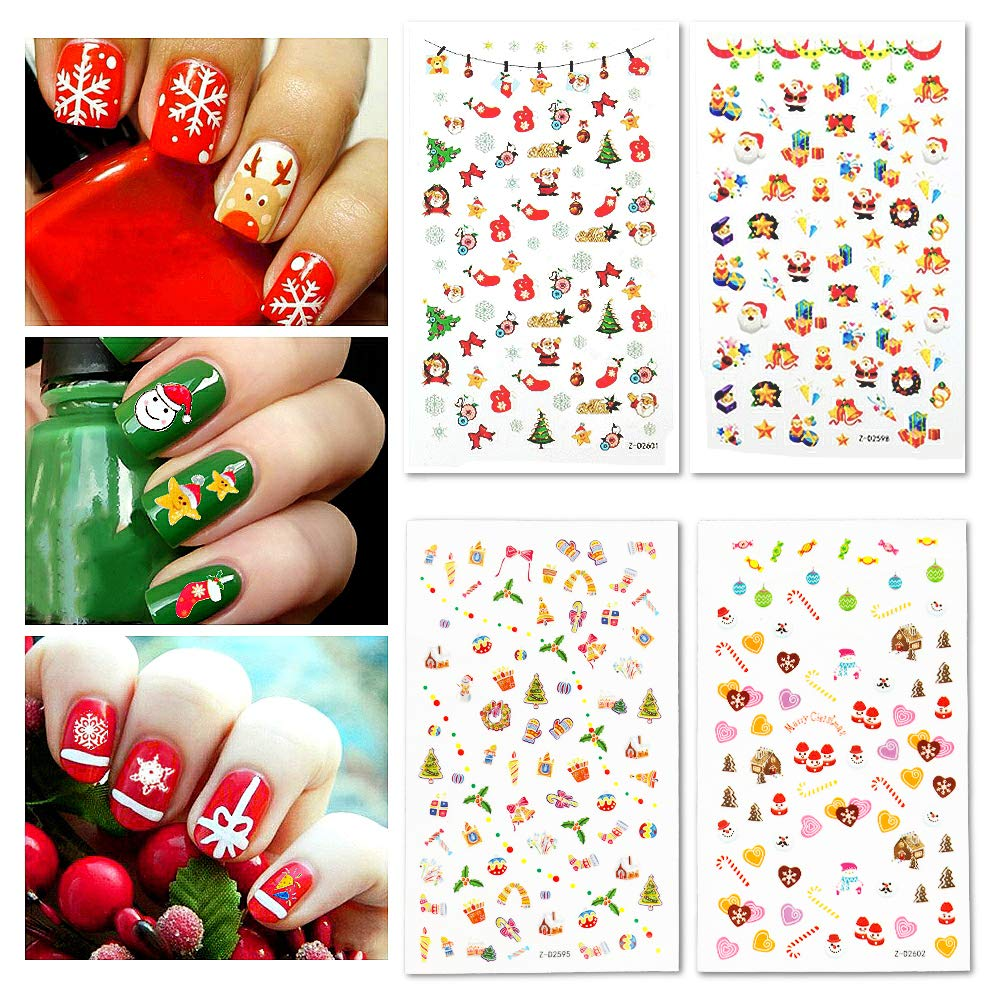 Amazon Com Fanme Christmas Nail Stickers 3d Nail Art Tattoo Decals Diy Nail Art Decoration Self Adhesive Tip Stickers 4sheets Christmas Beauty