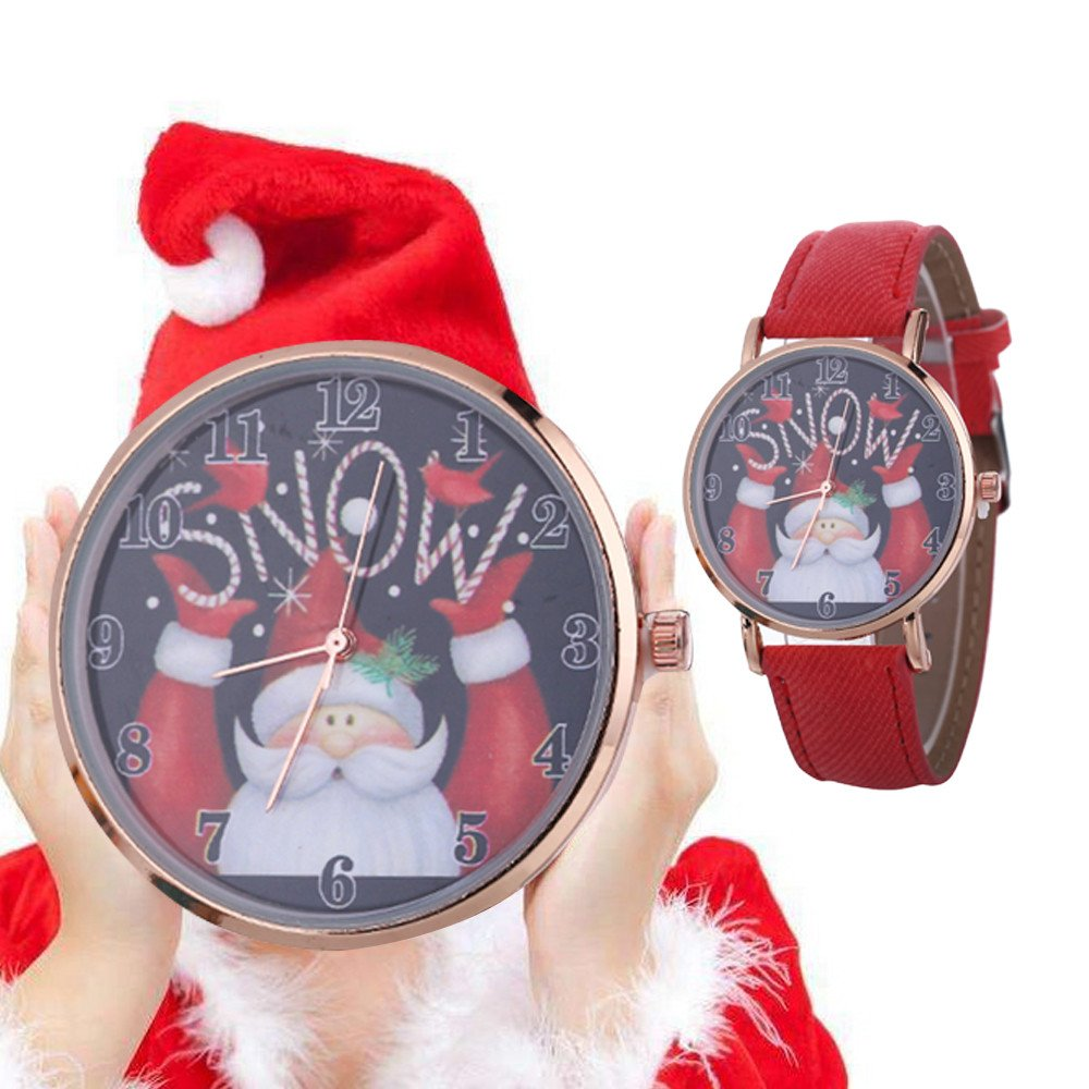 Amazon.com: Womens Quartz Watches,COOKI Christmas Santa Claus Analog Clearance Lady Watches Female Watches for Women,Round Dial Case Comfortable Canvas ...