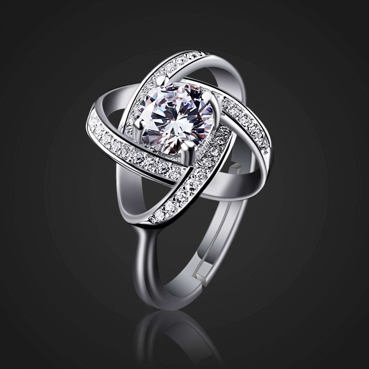 B.Catcher Women's Ring Adjustable 925 Sterling Silver Cubic Zirconia Valentine's Gift for Her by B.Catcher (Image #3)