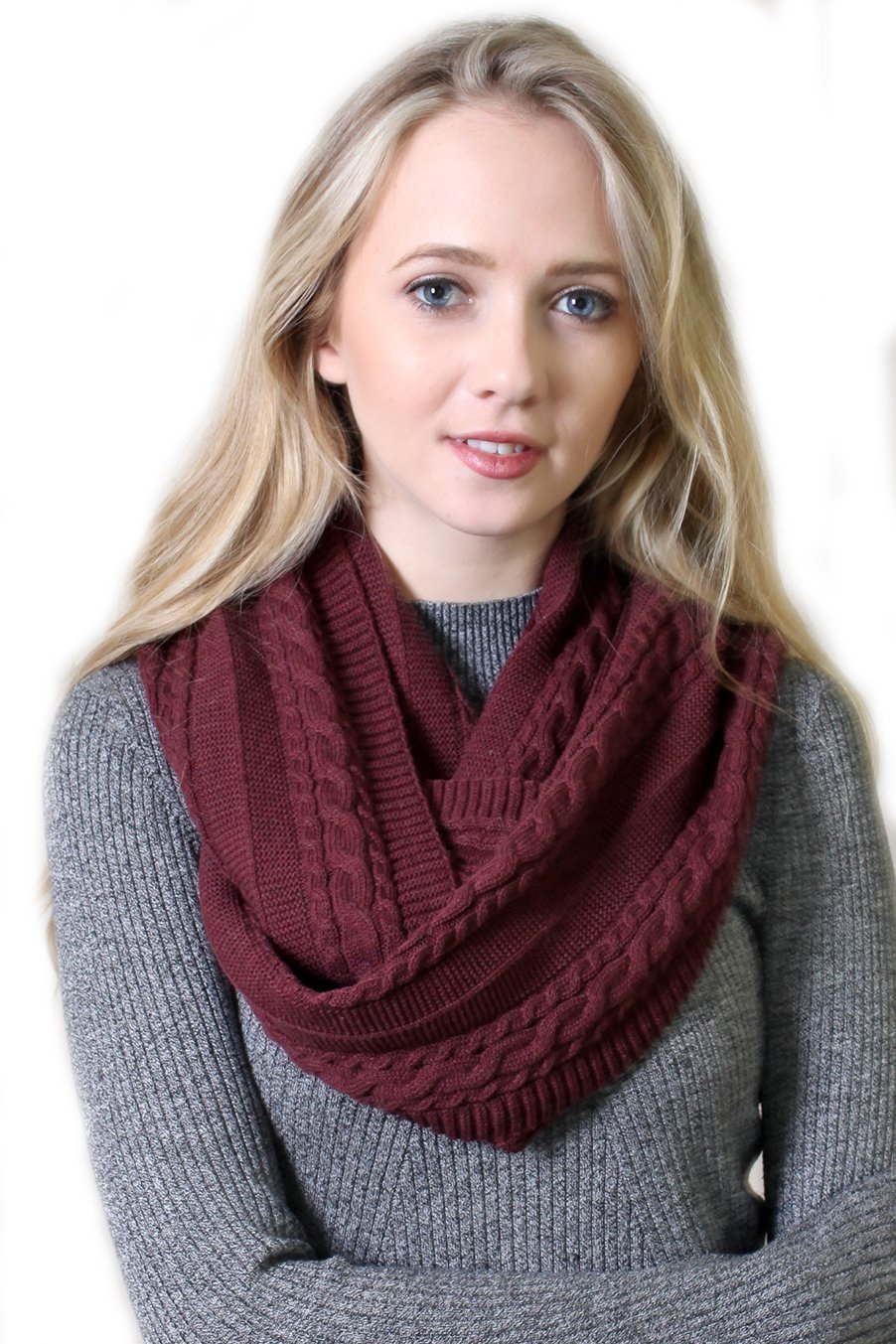 Women's 100% Organic Cotton Cable Knit Infinity Scarf, Super Soft Stretch Warm Non-Toxic (4 COLORS) (Plum)
