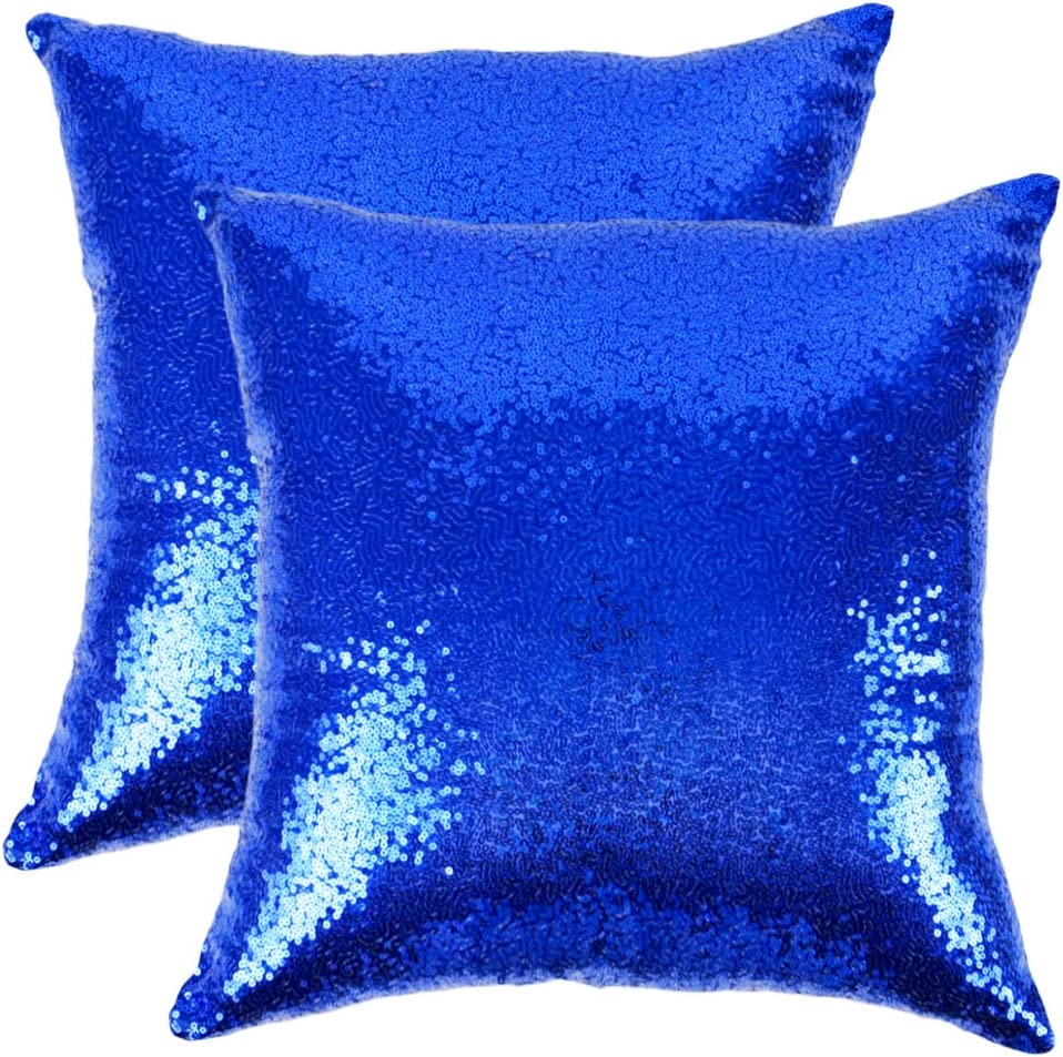 """Ushinemi Sequin Throw Pillow Cases, Royal Blue Square Pillow Covers, Cool Decorations for Sofa Couch Home Festivals Holiday, 16x16"""", Set of 2"""