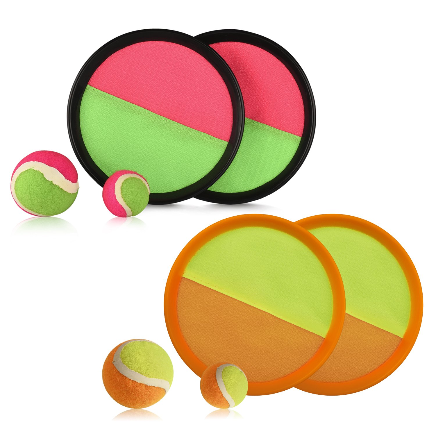 Paddle Toss and Catch Game Set - Self-Stick Disc Paddles and Toss Ball Sport Game - Equally Suitable Game for Kids & Adults, Outdoor or Indoor - Each Set Includes 4 Paddles and 2 Small & 2 Big Balls