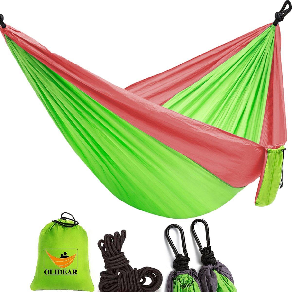OLIDEAR Portable Parachute Nylon Hammocks Ultralight Camping Hammock Garden Hammock for Backpacking Travel Beach Yard (Red & Green, 55'' W x 105'' L) …