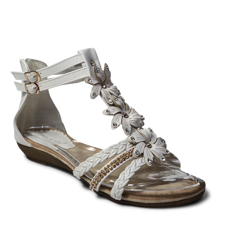 Damen Sandalen Sandaletten ST98 Keilabsatz Blumen Glitzer Zehentrenner  40 EU|Wei?
