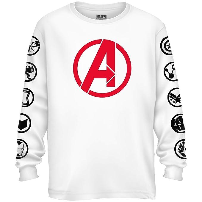 26ddfec9840 Marvel Avengers Endgame Logo Symbol Captain America Graphic Longsleeve T- Shirt(White