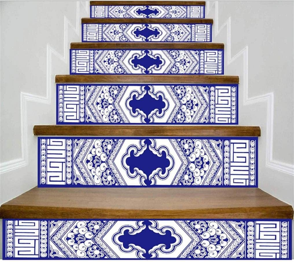 SQL Escaleras Decorativas de la Sala de Estar de la Escalera Decorativa de la Porcelana Azul y Blanca 6PCS: Amazon.es: Hogar
