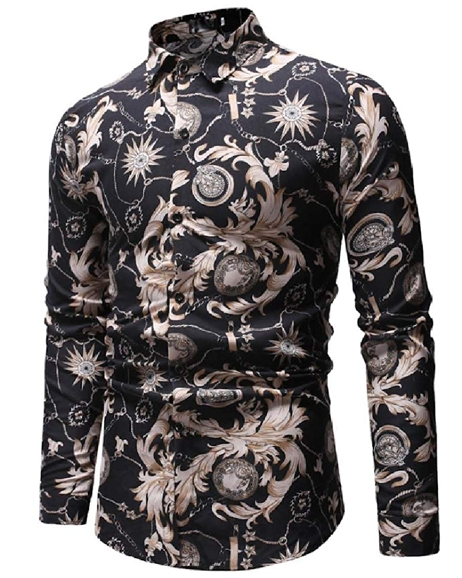 Sweatwater Mens Fashion Printing Long Sleeve Ethnic Turn Down Button Up Shirts