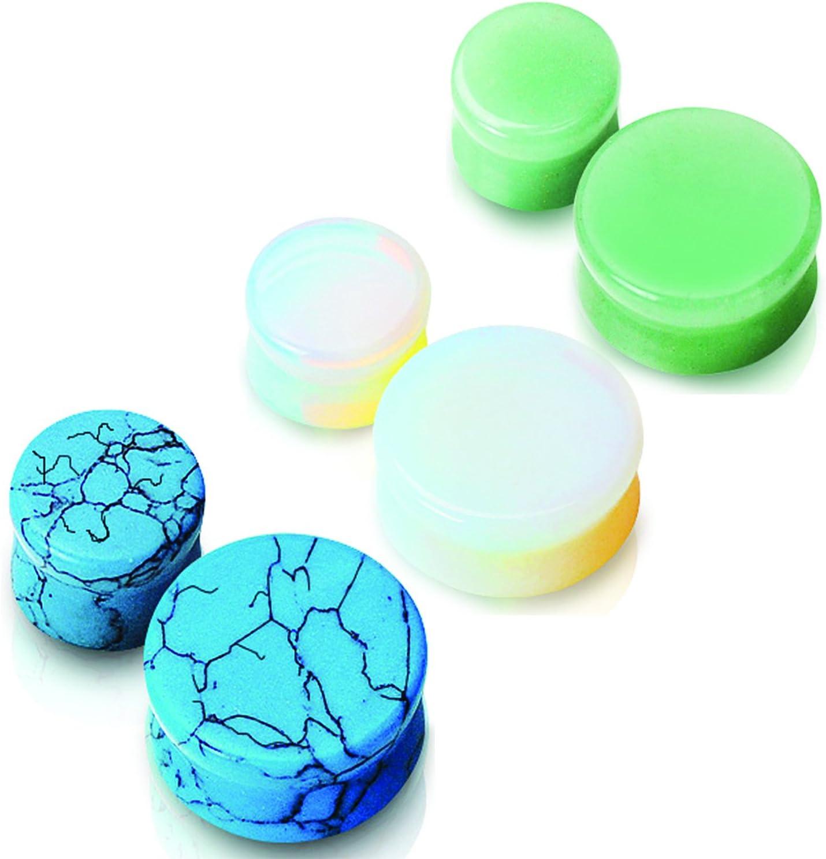 3 pares de pendientes de piedras semi preciosas, turquesa, opalita y jade
