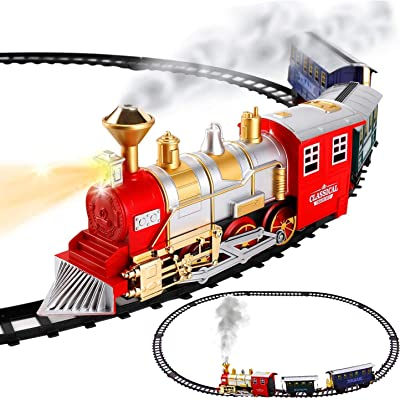 Classic Train Set for Kids with Smoke, Realistic Sounds, 3 Cars and 11 Feet of Tracks (13 pcs) colors may vary: Toys & Games